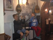 Dinner at Stavros Tavern, Albert Park (Greek restaurant) - Patrick and Charlie entertaining us