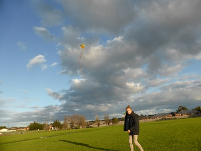 No better kite than a yellow smiley face