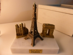 Marble Statue of Tour Eiffel, Notre Dame and the Arch De Triomphe