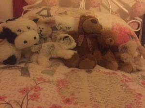 Pippa's teddies on her bed